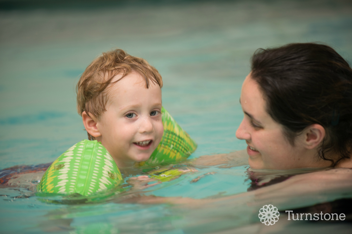 A warm-water pool is available for pediatric and adult therapy